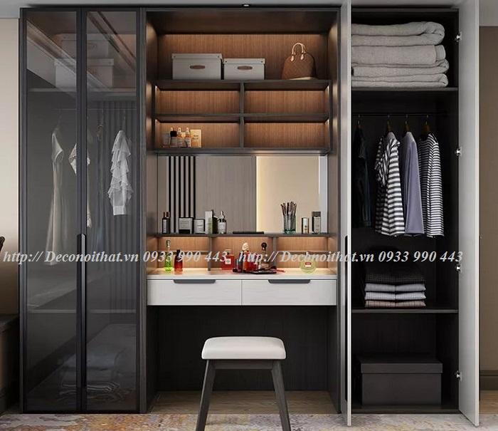 Thiết kế Tủ áo thông minh kết hợp với Bàn trang điểm đẹp cho Chị em phụ nữ