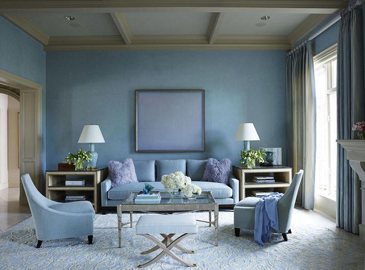 Màu xanh dương cho không gian phòng khách đẹp