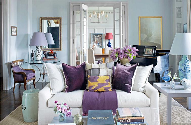 Màu tím mộng mơ cho không gian phòng khách sang trọng