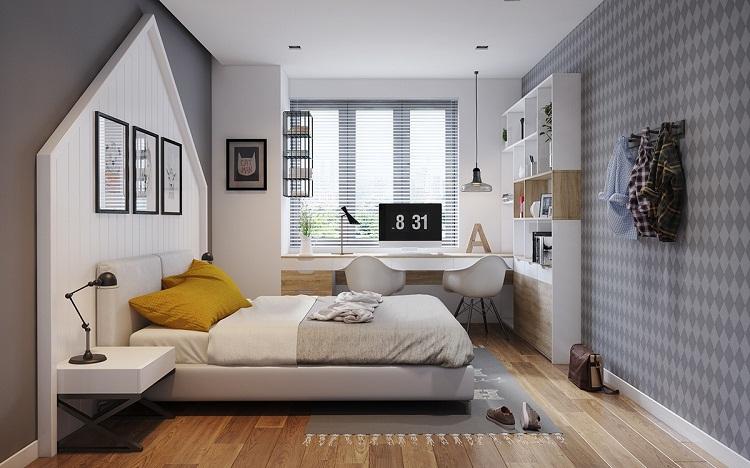 Phòng ngủ được thiết kế hiện đại ,đơn giản nhưng dầy tính thẩm mỹ