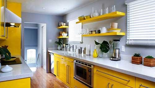những mãu thiết kế màu vàng đẹp cho không gian bếp nhà bạn thêm sống động