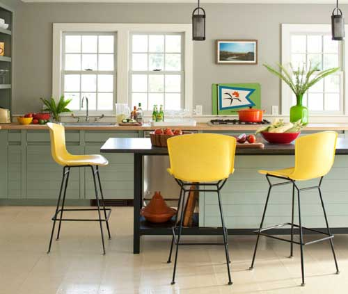 Những chiếc ghế màu vàng đẹp cho không gian nhà bếp