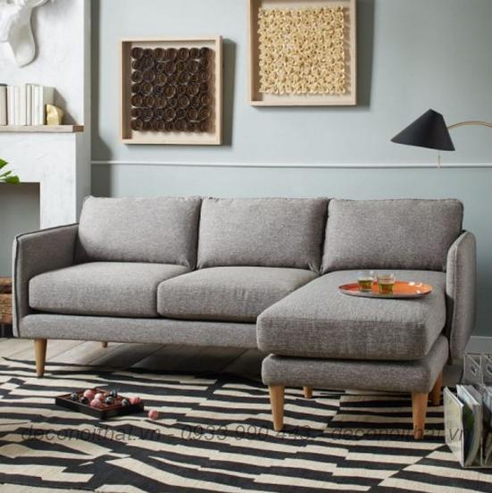 Ghế sofa góc vải nỉ D40 màu xám phù hợp với nhiều không gian nội thất phòng khách