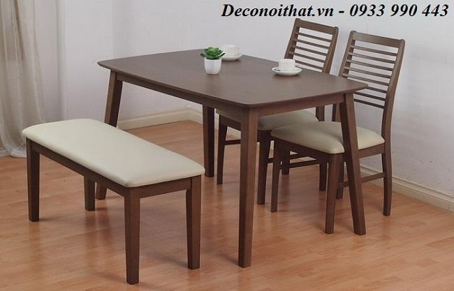 Bộ bàn ăn 009 ghế +băng nhỏ gọn phù hợp căn hộ chung cư