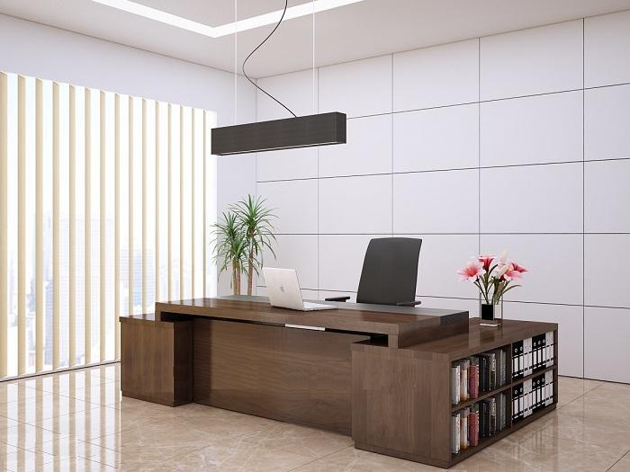 Bàn làm việc giám đốc đẳng cấp với 2 phần cấu trúc mặt bàn chính và mặt bàn phụ kết hợp tủ nhỏ đựng tài liệu