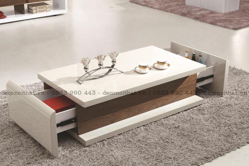 Bàn sofa - bàn trà với thiết kế thông minh giúp tối đa được công năng sử dụng nhưng vẫn mang lại sự hiện đại, sang trọng cho không gian phòng khách