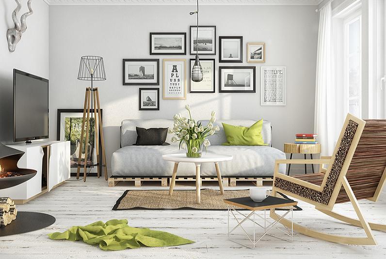 Bộ sofa màu hồng dịu dàng kết hợp mảng tường sơn màu xanh da trời yên bình