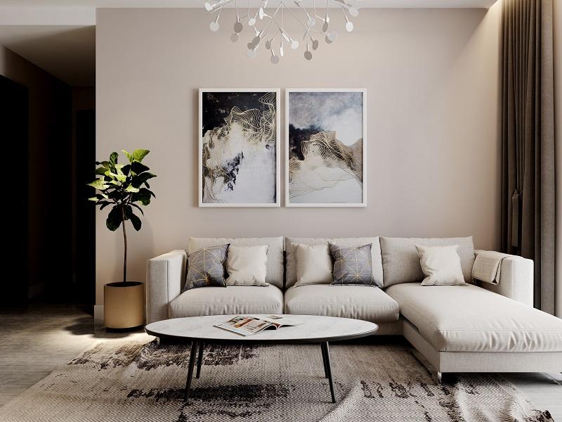 Phòng khách hiện đại với ghế sofa nhiều hình khối