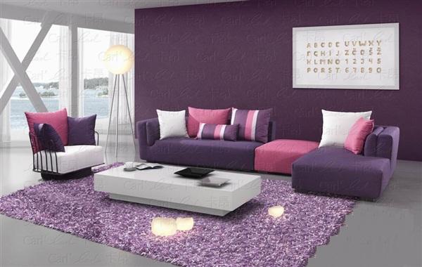 Chiếu ghế sofa góc chữ L được thiết kế bằng tông màu tím -hồng đầy lãng mạn