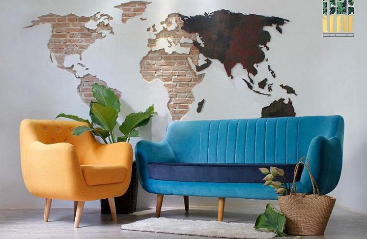 Bộ ghế sofa màu xanh kết hợp ghế sofa đơn màu vàng mang đến cảm giác mới lạ và quý phái