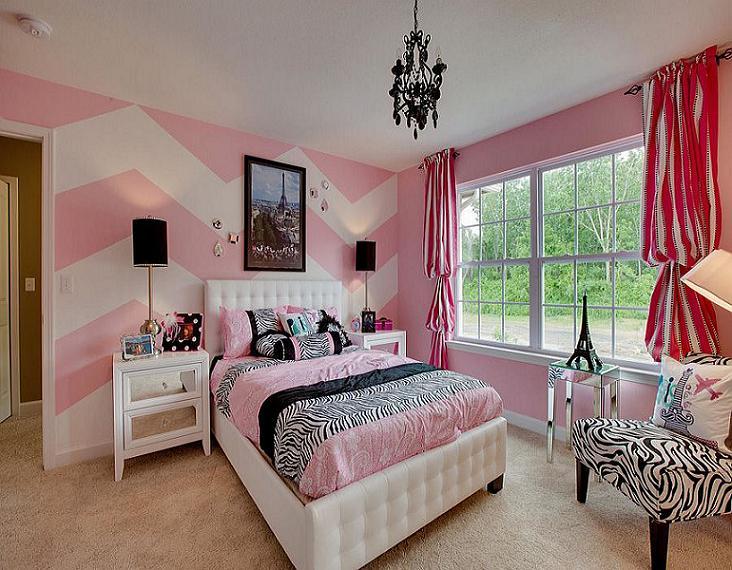 Căn phòng điệu đà với họa tiết màu hồng -trắng ngọt ngàoa