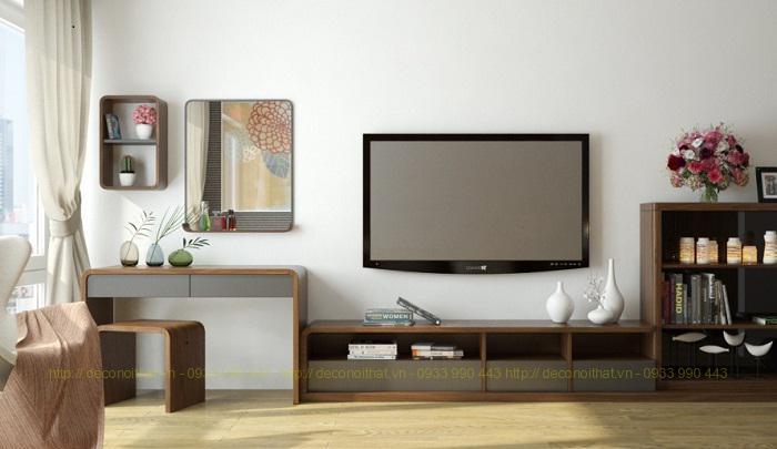 Kệ tivi liền bàn 01 được thiết kế dành riêng cho không gian phòng ngủ,với thiết kế đơn giản,hiện đại