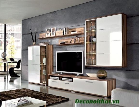 Kệ tivi phòng khách 013 được thiết kế hiện đại kết hợp giữa 2 tông màu trắng và màu vân gỗ làm chủ đạo hiện đại ,sang trọng