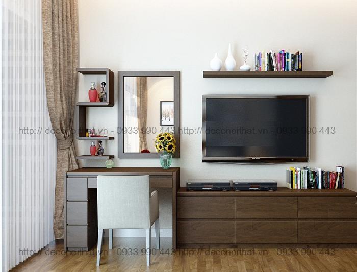 Kệ tivi liền bàn 02 không chỉ đáp ứng là đặt tivi chúng ta có thể kết hợp thêm bàn làm việc hoặc bàn trang điểm tạo nên một tổng thể căn phòng đầy đủ công năng sử dụng,tiện dụng và tiết kiện không gian phòng ngủ