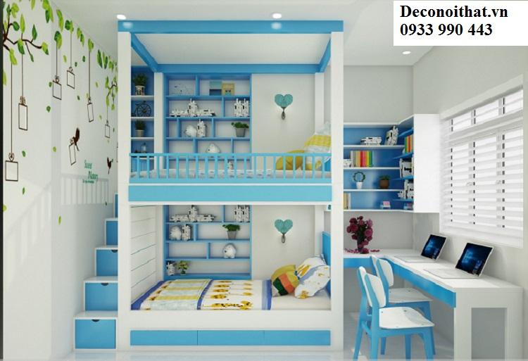 nội thất cho bé với phong cách đơn giản, gọn gàng, ngăn nắp sẽ giúp trẻ tập trung hơn trong việc học