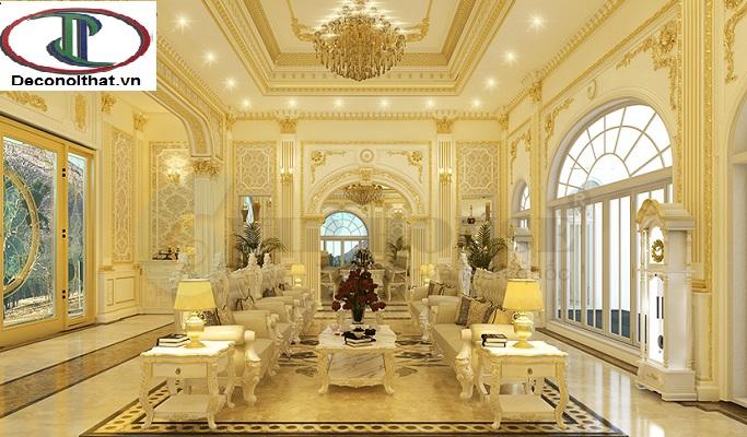 phòng khách với thiết kế tone Vàng sang tọng sẽ làm nổi bật không gian phòng khách