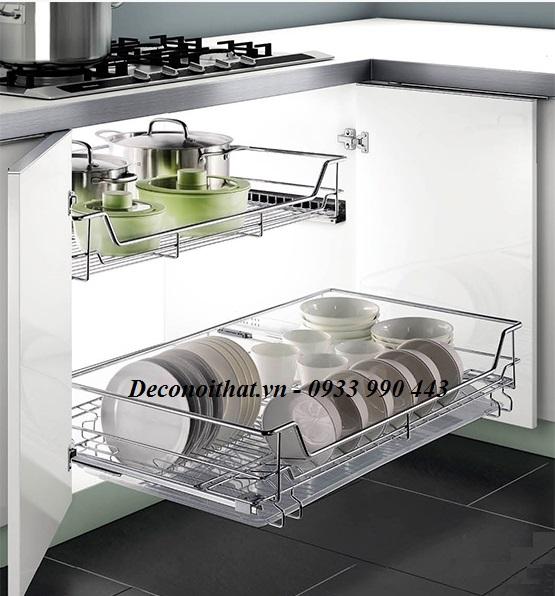 Kệ úp chén bát dĩa,xoang nồi thiết kế ngăn để chén dĩa riêng biệt dễ dàng khi cất giữ và lấy, kết hợp với ray giảm chấn, an toàn khi đóng mở tủ mà không gây đổ vỡ