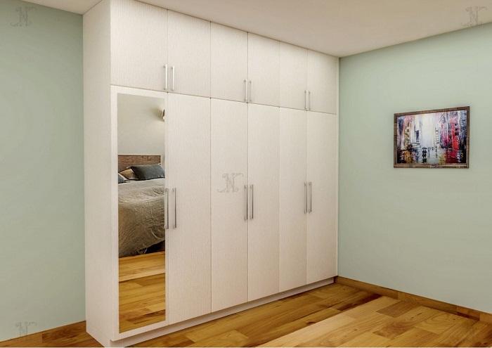 Tủ áo gỗ hiện đại với thiết kế tối giản, màu sắc ấm áp, hài hòa với tông màu trắng tinh khôi