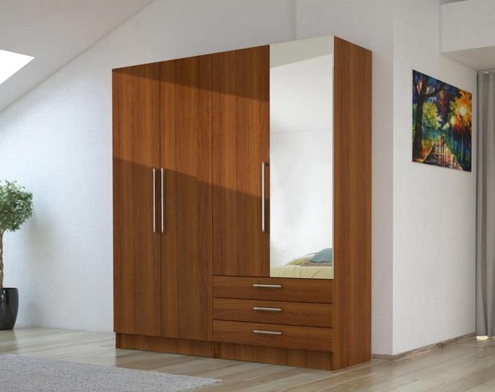 Tủ áo 168 được thiết kế 4 cánh và 3 ngăn kéo là giải pháp thông minh cho các không gian lớn ,nhỏ