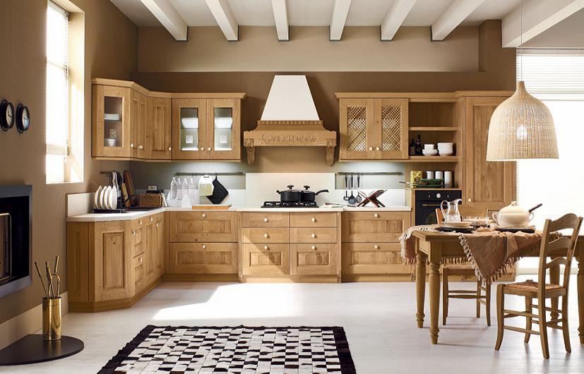 Tủ bếp gỗ sồi được thiết kế theo phong cách châu âu