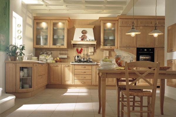 Tủ bếp gỗ sồi được kết hợp với bộ bàn ghế ăn cùng chất liệu