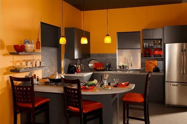 Gam màu đậm cho không gian nhà bếp đẹp