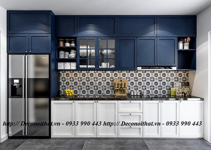 Thi công tủ bếp mang phong cách vừa hiện đại vừa tân cổ điển giúp không gian nhà bạn thêm phần sang trọng