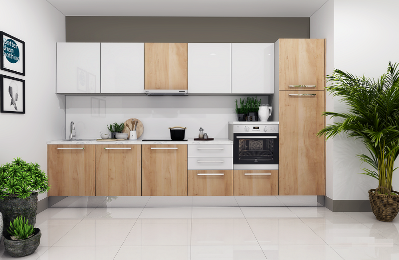 Ý tưởng thiết kế tủ bếp đẹp Acrylic kết hợp màu vân gỗ Laminate
