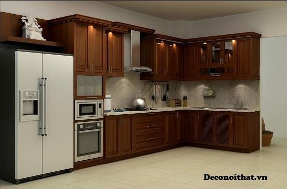 Tủ bếp gỗ  tự nhiên bền đẹp theo thời gian