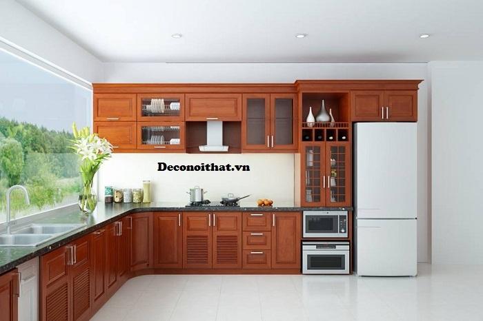 Tủ bếp gỗ tự nhiên L 001TP bền đẹp theo thời gian