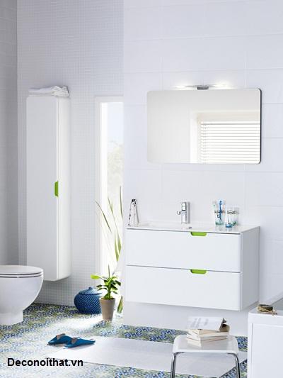 Với thiết kế màu trắng cùng một chút nhấn nhá nổi bật sẽ là điểm nổi bật cho không gian phòng tắm